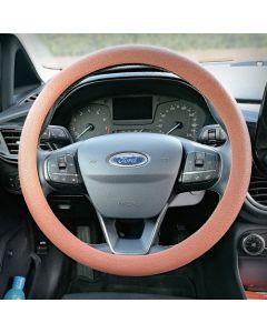 Siliconen Stuurhoes met leerstructuur - Steering wheel cover Bruin