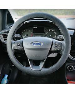 Siliconen Stuurhoes met leerstructuur - Steering wheel cover Zwart