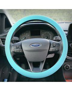Siliconen Stuurhoes met leerstructuur - Steering wheel cover Blauw