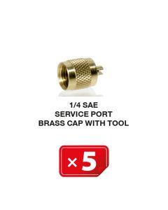 Koperen Service Poort Kap met Tool 1/4 SAE (5 st.)