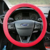 Siliconen Stuurhoes met leerstructuur - Steering wheel cover Rood