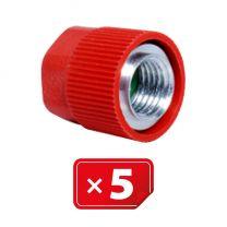 """Retrofit Adapter Aluminium afsluitdop zonder ventiel kern voor hogedruk zijde. 1/4"""" SAE. Set van 5 stuks"""