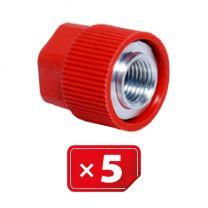 """Retrofit Adapter Aluminium afsluitdop zonder ventiel kern voor hogedruk zijde. 3/16"""" SAE.Set van 5 stuks"""