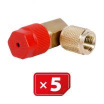 Retrofit Adapter Hogedruk zijde 90° 1/4 SAE. Set van 5 stuks.
