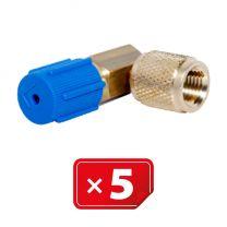 "Retrofit Adapter Lagedruk zijde 90° 1/4"" SAE. Set van 5 stuks"